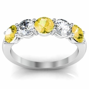Five Stone Band with Yellow Sapphire and Diamond Gem Stones
