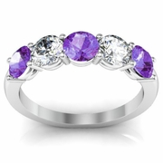 Five Stone Diamond Amethyst Anniversary Ring for Women