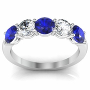 Five Stone Diamond Sapphire Anniversary Ring for Women