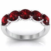 Five Stone Ring in Garnet