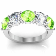 Five Stone Ring with Diamond and Peridot Birthstones