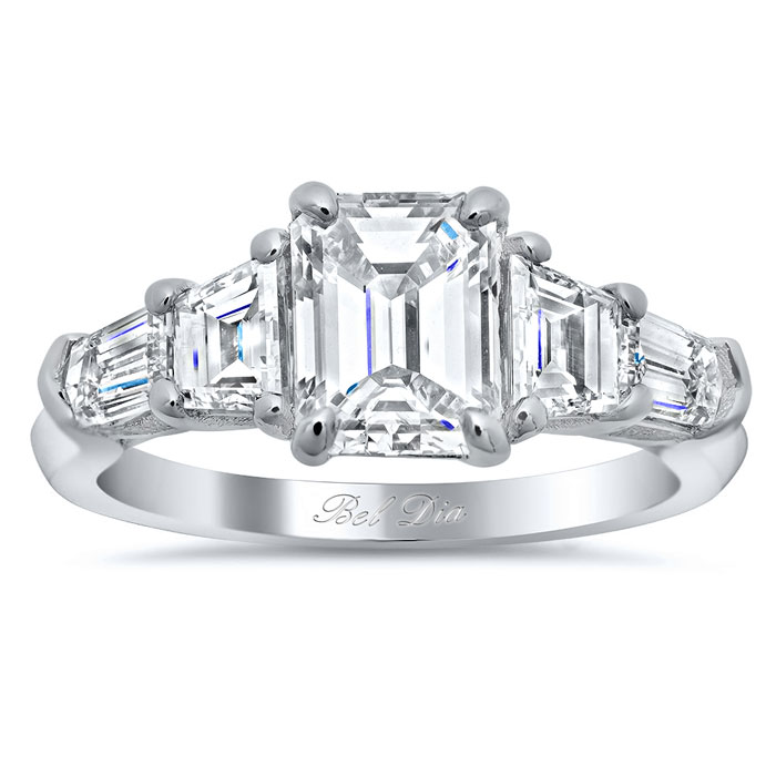 Five Stone Ring with Trapezoids and Bullet Diamonds