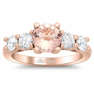 Five Stone Rose Gold Engagement Ring with Morganite and Diamonds