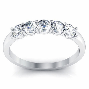 Five Stone Round Diamonds Anniversary Wedding Ring - click to enlarge