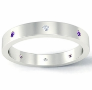 Flat Amethyst and Diamond Landmark Eternity Ring