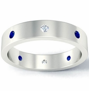 Flat Blue Sapphire and Diamond Landmark Eternity Band