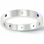 Flat Blue Sapphire and Diamond Landmark Eternity Ring