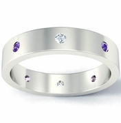 Flat Diamond and Amethyst Landmark Eternity Band