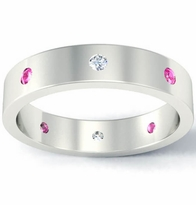 Flat Diamond and Pink Sapphire Landmark Eternity Band