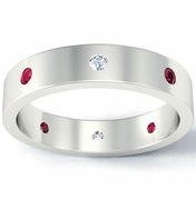Flat Diamond and Ruby Landmark Eternity Band