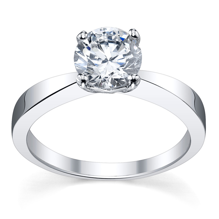 diamond solitaire tapered flat engagement ring click to enlarge - Flat Wedding Rings