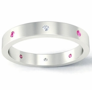 Flat Pink Sapphire and Diamond Landmark Eternity Ring