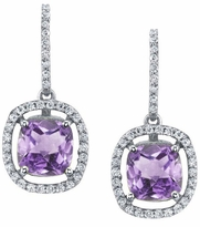Floating Amethyst Halo Drop Earrings
