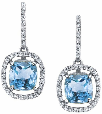 Floating Blue Topaz Halo Drop Earrings - click to enlarge