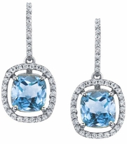 Floating Blue Topaz Halo Drop Earrings