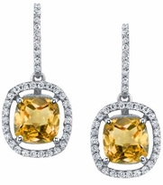 Floating Citrine Halo Drop Earrings