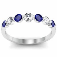 Floating Diamond and Sapphire Seven Stone Band