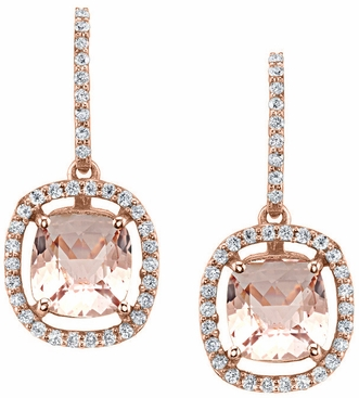 Floating Morganite Halo Earrings - click to enlarge