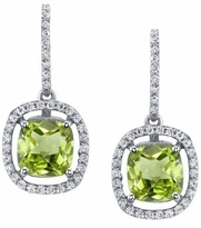 Floating Peridot Halo Drop Earrings