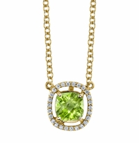 Floating Peridot Halo Pendant