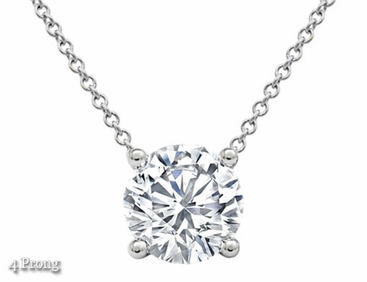 Floating Round Diamond Solitaire Pendant Necklace - click to enlarge
