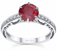 Floral Accented Pave Engagement Ring with Ruby