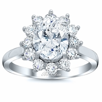 Flower Shaped Halo Engagement Ring