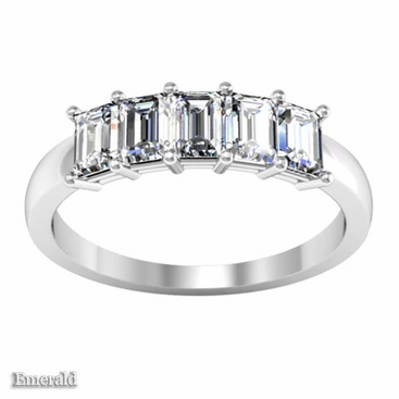 1.35 ctw Forever One Emerald Cut Moissanite Five Stone Ring - click to enlarge