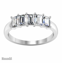 1.35 ctw Forever One Emerald Cut Moissanite Five Stone Ring