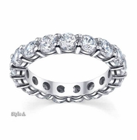 3.70 ctw Forever One Moissanite Round Eternity Ring