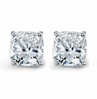 Forever One Moissanite Cushion Cut Earrings