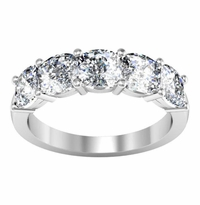 2.50 ctw Forever One Moissanite Cushion Five Stone Ring