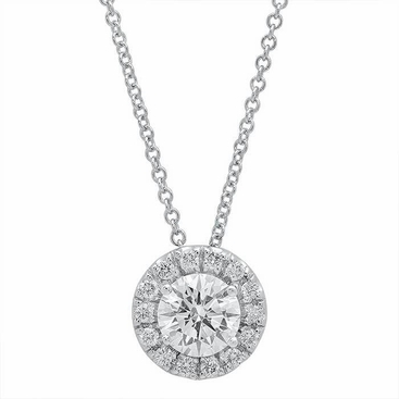 Forever One Round Moissanite Halo Necklace - click to enlarge