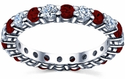 Garnet and Diamond Birthstone Eternity Band