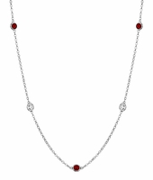 Diamond and Garnet Bezel Birthstone Station Necklace