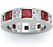 Garnet and Diamond Gemstone Eternity Anniversary Ring