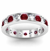Garnet and Diamond Round Gemstone Eternity Ring in Channel Setting