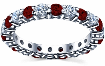 Garnet Birthstone Eternity Ring with Diamonds - click to enlarge