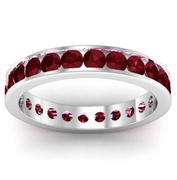 Garnet Eternity Band in Channel Setting