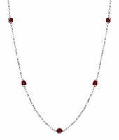 Garnet January Birthstone Station Necklace