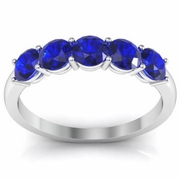 Five Stone Ring with Blue Sapphires One Carat