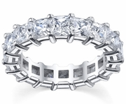 GH-I1 Prong-Set Princess-Cut Diamonds Eternity Wedding Band