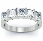 GIA-Certified Diamond Five Stone Ring with Princess Cut Diamonds