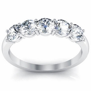 GIA Certified 5-Stone Ring with Round Cut Diamonds