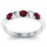 Gold Garnet and Diamond Five Stone Band