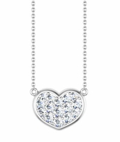 Gold Heart Necklace with Diamonds