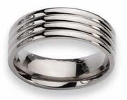 Grooved 8mm Titanium Ring High Polish Finish