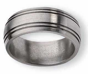 Grooved Aircraft Grade Titanium Wedding Ring 8mm