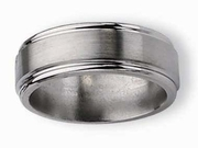 Grooved Edge Titanium Ring Matte & High Polish Finish in 8mm