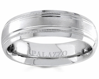 Grooved Men's Palladium Wedding Band 6.5mm